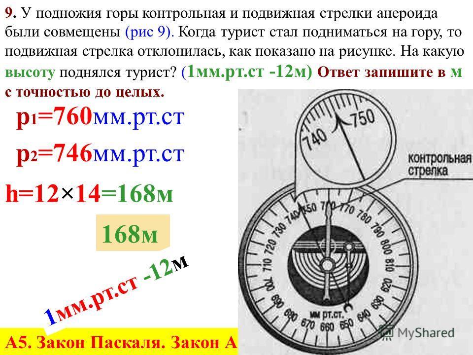 8. Определите цену деления и показания металлического барометра. (рис. 8) Выразите показания в к Па с точностью до целых. 85 к Па р=8,5Н/см 2 =85000Н/м 2 А5. Закон Паскаля. Закон Архимеда.