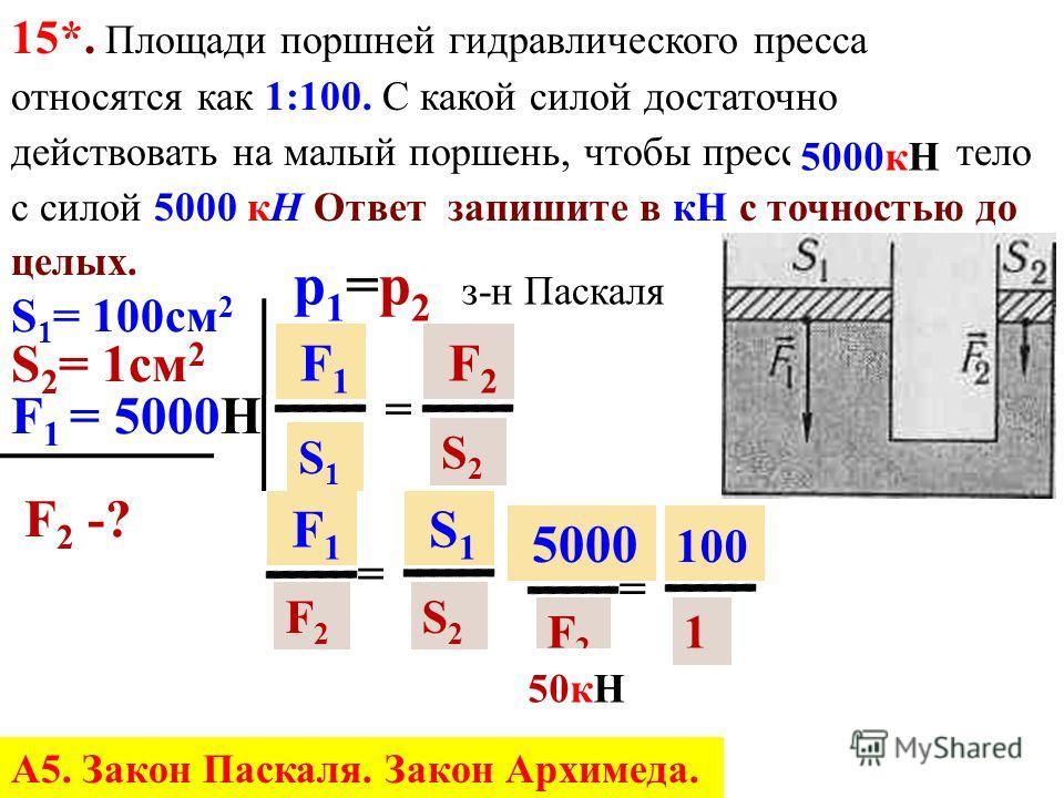 15*. Определите модуль силы F 1 действующей на большой поршень гидравлического пресса, если: S 1 = 30 см 2 ; S 2 = 10 см 2 ; F 2 = 500 Н. Ответ запишите в кН с точностью до целых. S 1 = 30 см 2 S 2 = 10 см 2 F 2 = 500 Н Роб = 6Н F 1 -? F1 F1 S1S1 = F