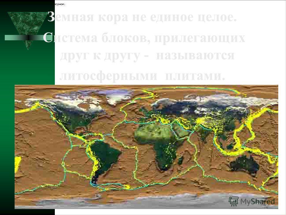 Земная кора не единое целое. Система блоков, прилегающих друг к другу - называются литосферными плитами.