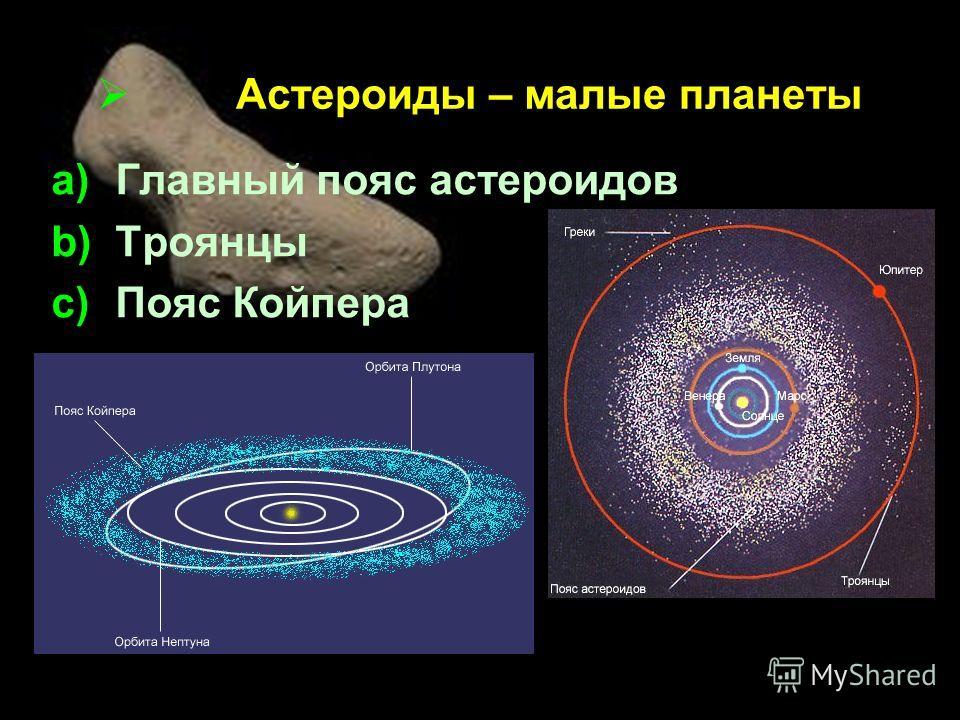 Астероиды – малые планеты a)Главный пояс астероидов b)Троянцы c)Пояс Койпера