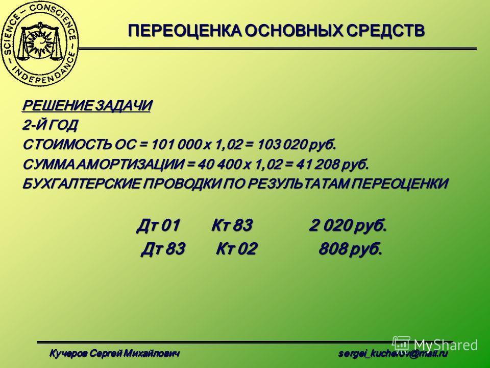 Кучеров Сергей Михайлович sergei_kucherov@mail.ru ПЕРЕОЦЕНКА ОСНОВНЫХ СРЕДСТВ РЕШЕНИЕ ЗАДАЧИ 2-Й ГОД СТОИМОСТЬ ОС = 101 000 х 1,02 = 103 020 руб. СУММА АМОРТИЗАЦИИ = 40 400 х 1,02 = 41 208 руб. БУХГАЛТЕРСКИЕ ПРОВОДКИ ПО РЕЗУЛЬТАТАМ ПЕРЕОЦЕНКИ Дт 01Кт