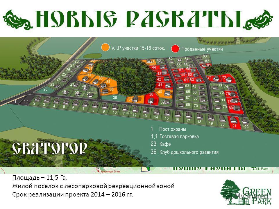 Площадь – 11,5 Га. Жилой поселок с лесопарковой рекреационной зоной Срок реализации проекта 2014 – 2016 гг.