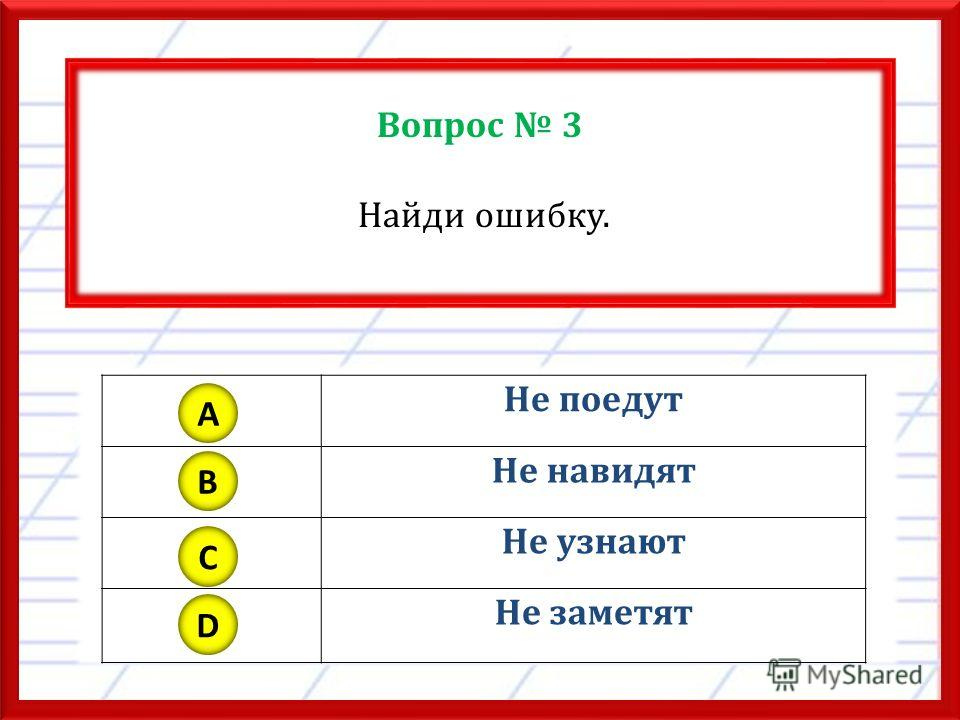Вопрос 3 Найди ошибку. Не поедут Не навидят Не узнают Не заметят A B C D