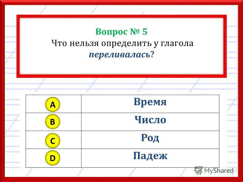 Вопрос 5 Что нельзя определить у глагола переливалась? Время Число Род Падеж A B C D