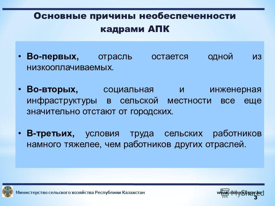 www.minagri.gov.kz Министерство сельского хозяйства Республики Казахстан 3 Основные причины необеспеченности кадрами АПК 95,1 Во-первых, отрасль остается одной из низкооплачиваемых. Во-вторых, социальная и инженерная инфраструктуры в сельской местнос