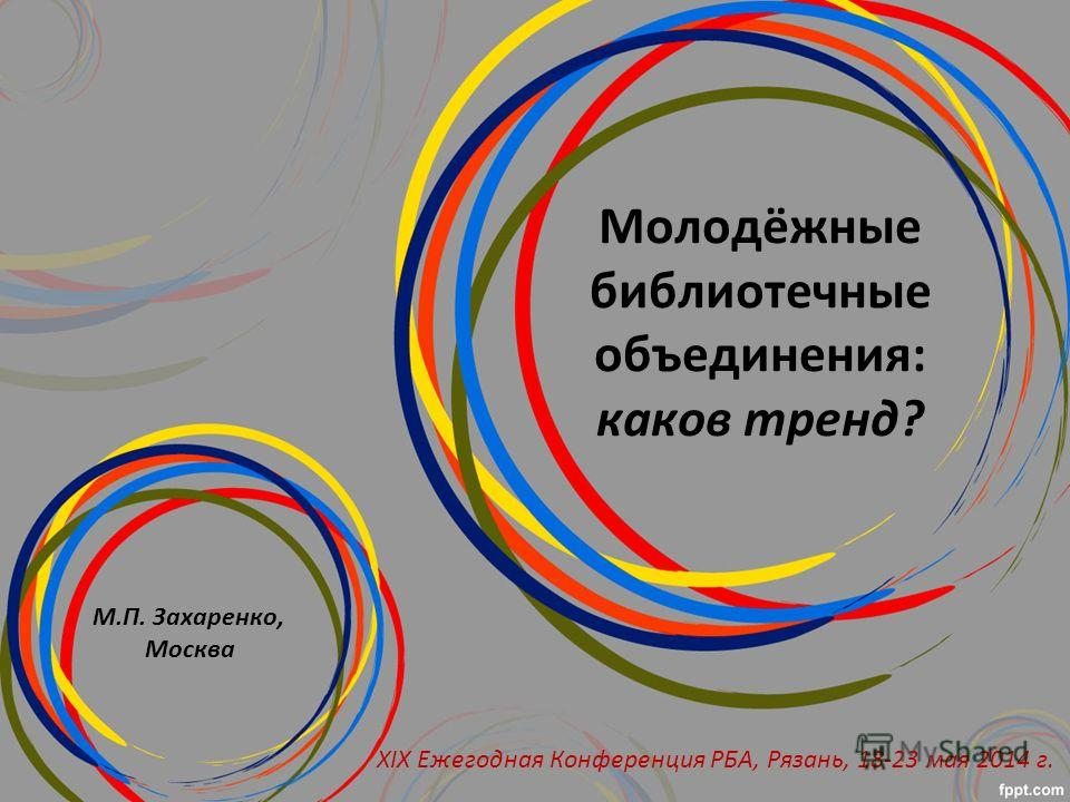 Молодёжные библиотечные объединения: каков тренд? М.П. Захаренко, Москва XIX Ежегодная Конференция РБА, Рязань, 18-23 мая 2014 г.