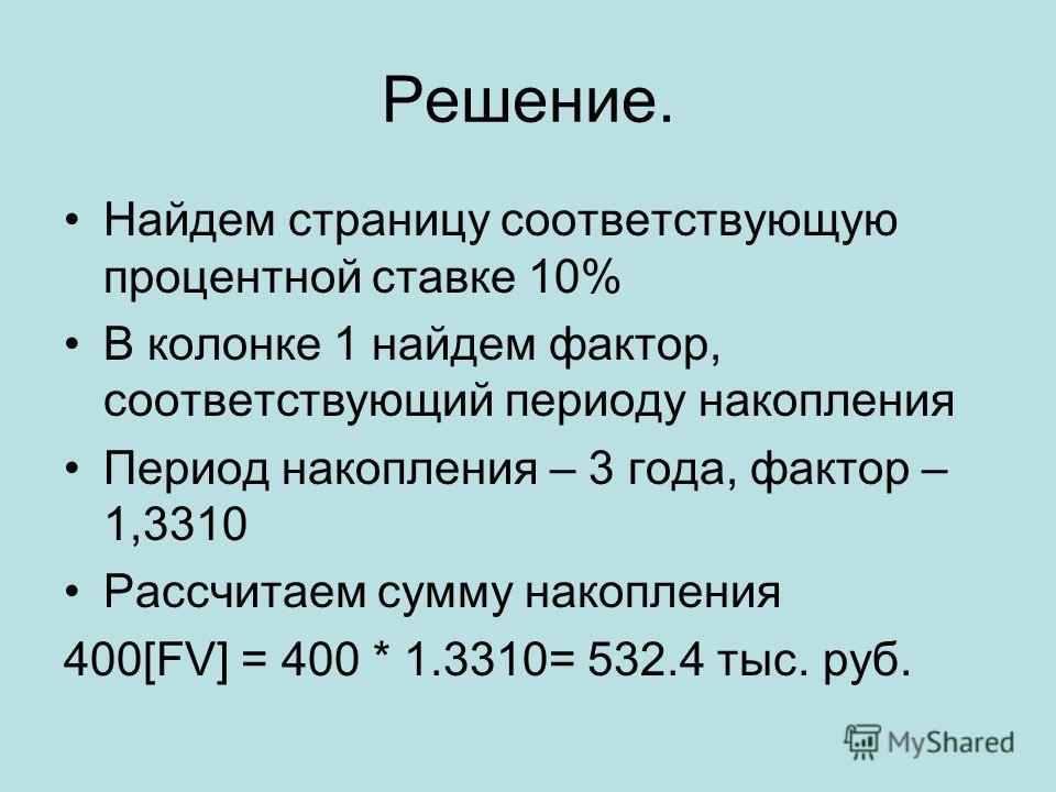 Решение. Найдем страницу соответствующую процентной ставке 10% В колонке 1 найдем фактор, соответствующий периоду накопления Период накопления – 3 года, фактор – 1,3310 Рассчитаем сумму накопления 400[FV] = 400 * 1.3310= 532.4 тыс. руб.