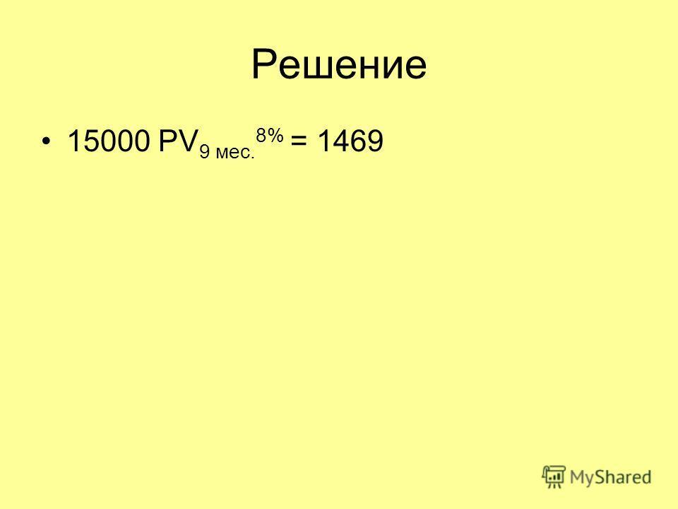 Решение 15000 PV 9 мес. 8% = 1469