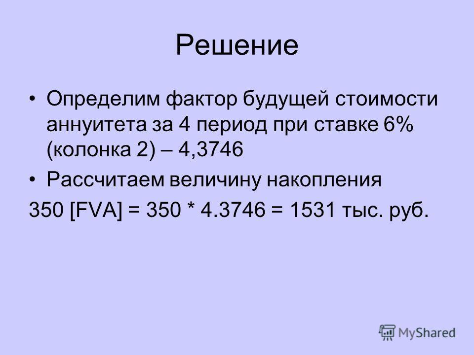 Решение Определим фактор будущей стоимости аннуитета за 4 период при ставке 6% (колонка 2) – 4,3746 Рассчитаем величину накопления 350 [FVA] = 350 * 4.3746 = 1531 тыс. руб.