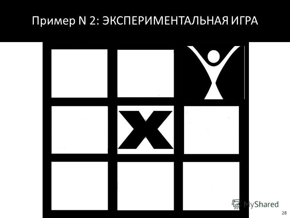 Пример N 2: ЭКСПЕРИМЕНТАЛЬНАЯ ИГРА 28