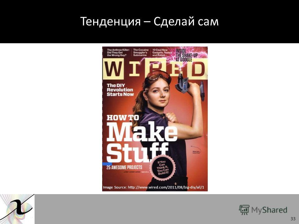 Тенденция – Сделай сам Image Source: http://www.wired.com/2011/08/big-diy/all/1 33