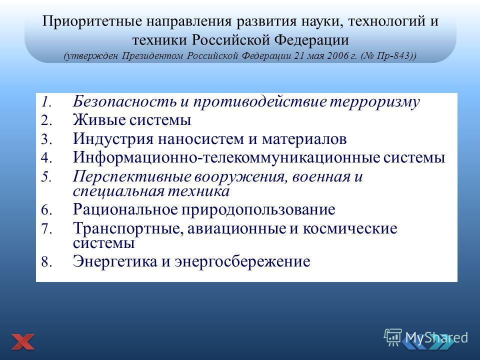 Приоритетные направления развития науки, технологий и техники Российской Федерации (утвержден Президентом Российской Федерации 21 мая 2006 г. ( Пр-843)) 1. Безопасность и противодействие терроризму 2. Живые системы 3. Индустрия наносистем и материало