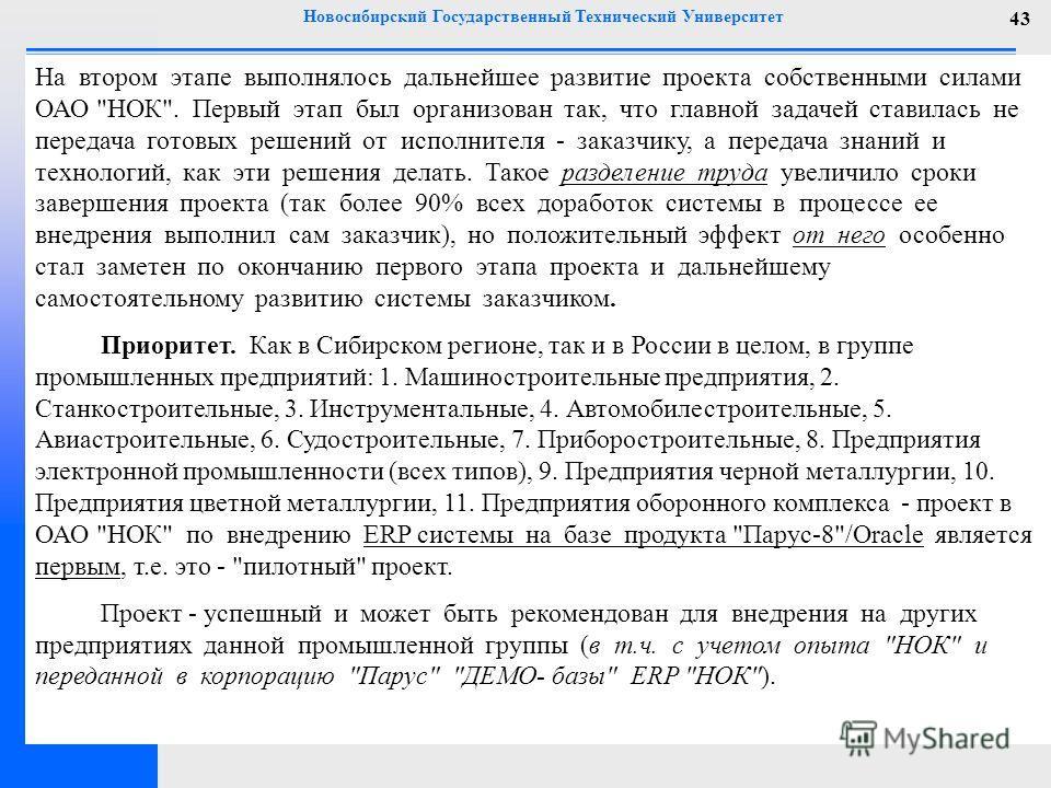 Новосибирский Государственный Технический Университет 43 На втором этапе выполнялось дальнейшее развитие проекта собственными силами ОАО