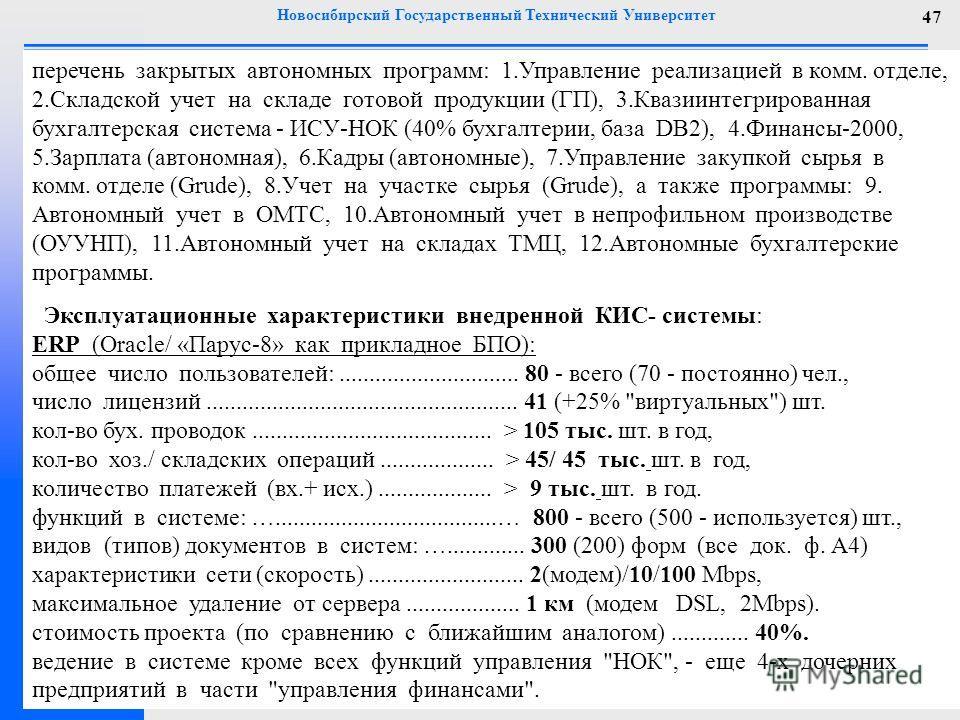 Новосибирский Государственный Технический Университет 47 перечень закрытых автономных программ: 1. Управление реализацией в комм. отделе, 2. Складской учет на складе готовой продукции (ГП), 3. Квазиинтегрированная бухгалтерская система - ИСУ-НОК (40%