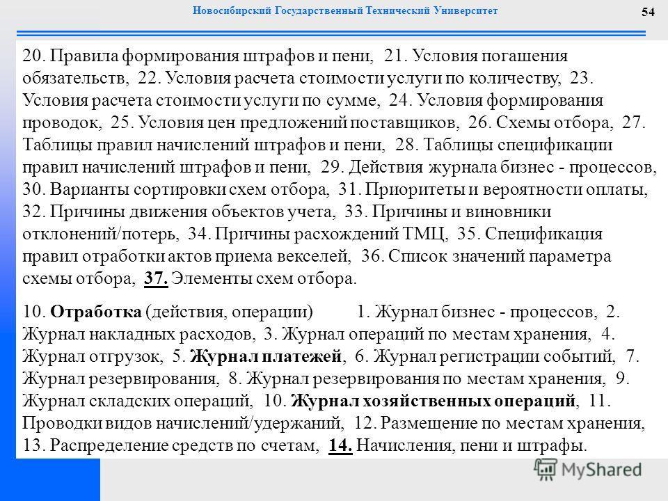 Новосибирский Государственный Технический Университет 54 20. Правила формирования штрафов и пени, 21. Условия погашения обязательств, 22. Условия расчета стоимости услуги по количеству, 23. Условия расчета стоимости услуги по сумме, 24. Условия форми