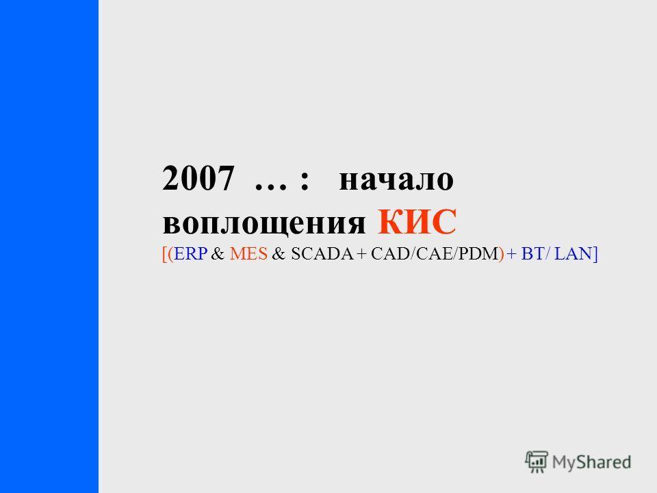 2007 … : начало воплощения КИС [(ERP & MES & SCADA + CAD/CAE/PDM) + ВТ/ LAN]
