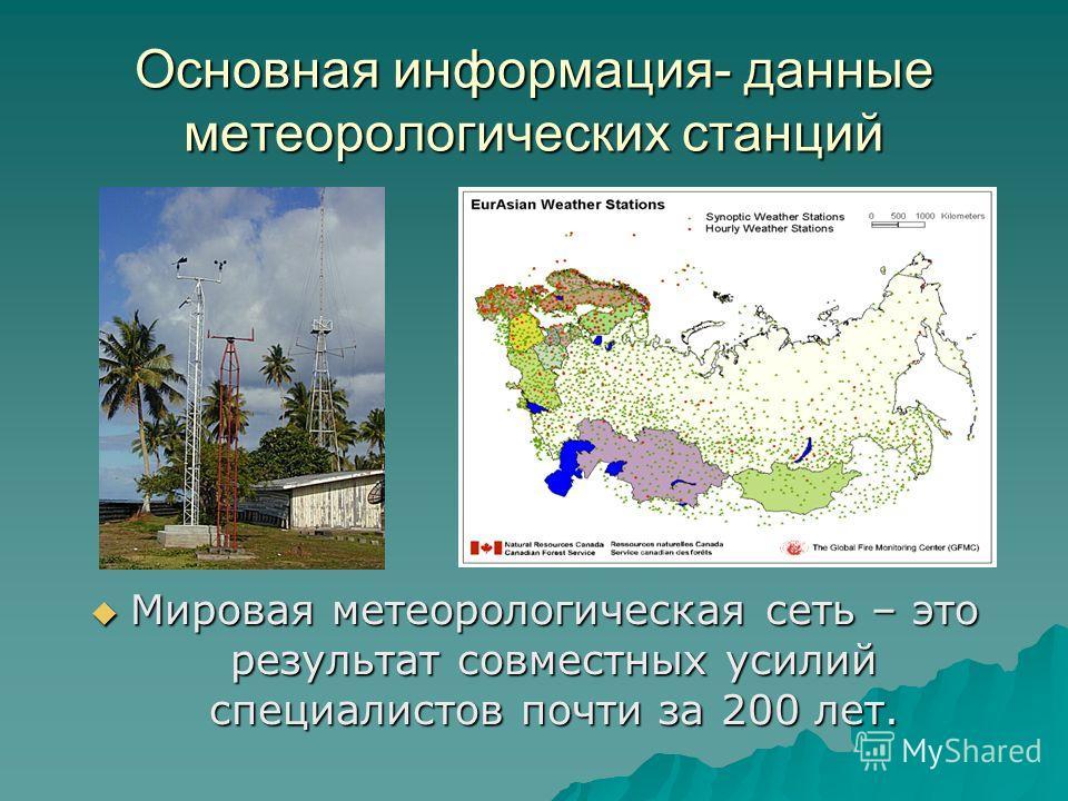 Основная информация- данные метеорологических станций Мировая метеорологическая сеть – это результат совместных усилий специалистов почти за 200 лет. Мировая метеорологическая сеть – это результат совместных усилий специалистов почти за 200 лет.