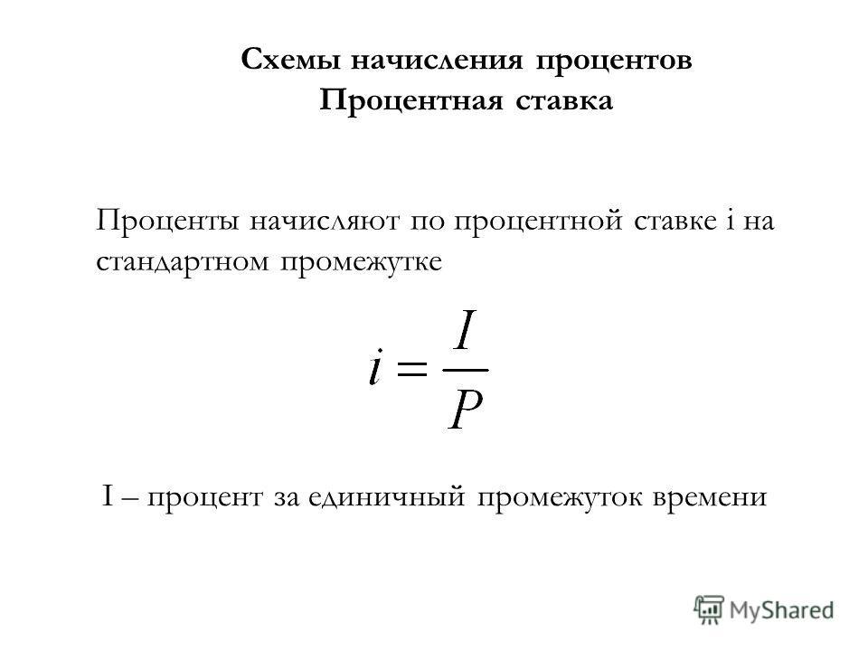Схемы начисления процентов Процентная ставка Проценты начисляют по процентной ставке i на стандартном промежутке I – процент за единичный промежуток времени