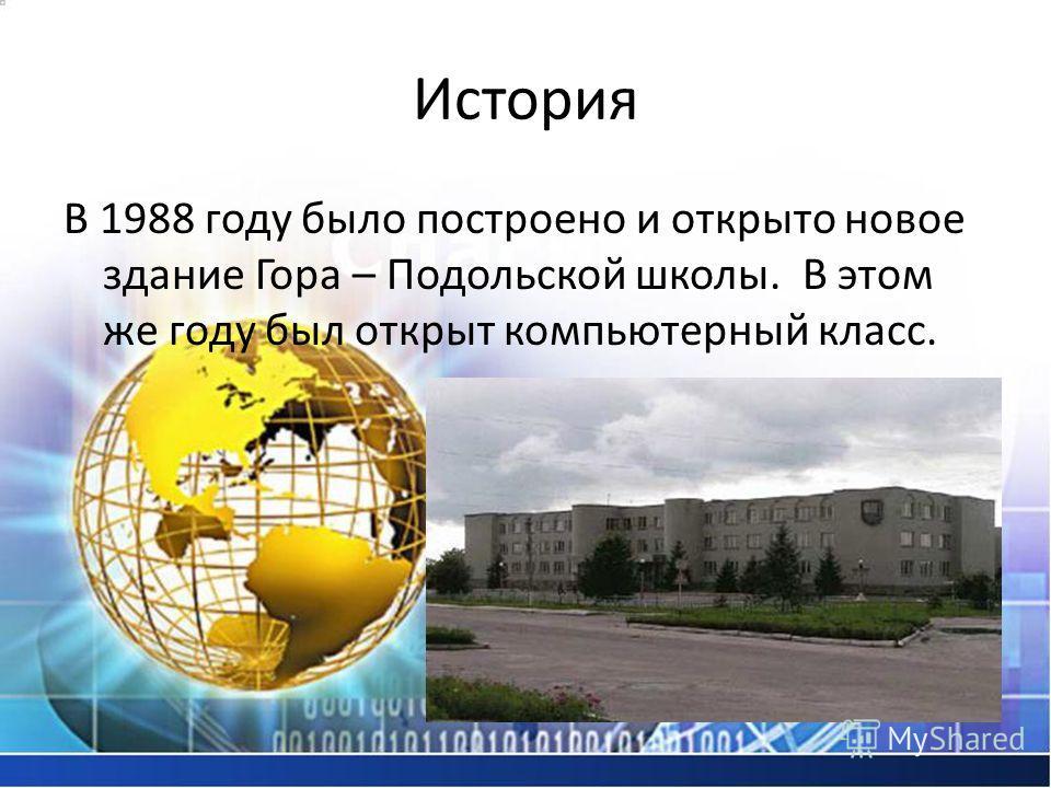 История В 1988 году было построено и открыто новое здание Гора – Подольской школы. В этом же году был открыт компьютерный класс.