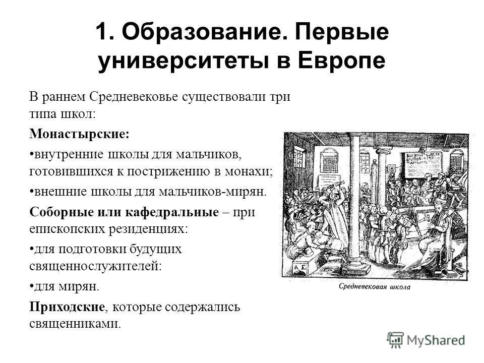 1. Образование. Первые университеты в Европе В раннем Средневековье существовали три типа школ: Монастырские: внутренние школы для мальчиков, готовившихся к пострижению в монахи; внешние школы для мальчиков-мирян. Соборные или кафедральные – при епис