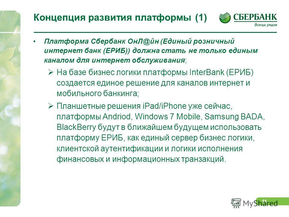 11 Концепция развития платформы (1) Платформа Сбербанк ОнЛ@йн (Единый розничный интернет банк (ЕРИБ)) должна стать не только единым каналом для интернет обслуживания; На базе бизнес логики платформы InterBank (ЕРИБ) создается единое решение для канал
