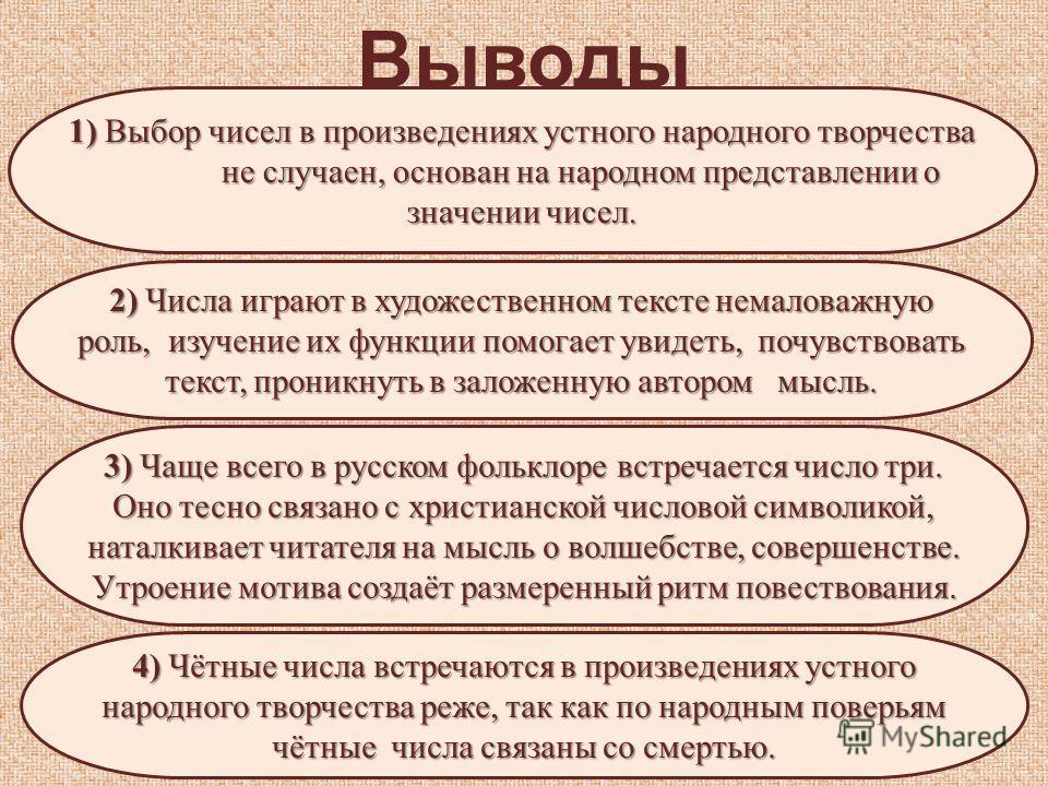 Выводы 2) Числа играют в художественном тексте немаловажную роль, изучение их функции помогает увидеть, почувствовать текст, проникнуть в заложенную автором мысль. 3) Чаще всего в русском фольклоре встречается число три. Оно тесно связано с христианс