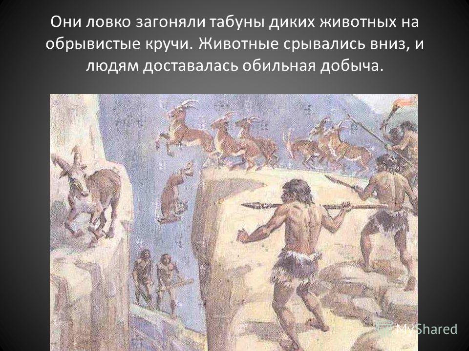 Они ловко загоняли табуны диких животных на обрывистые кручи. Животные срывались вниз, и людям доставалась обильная добыча.