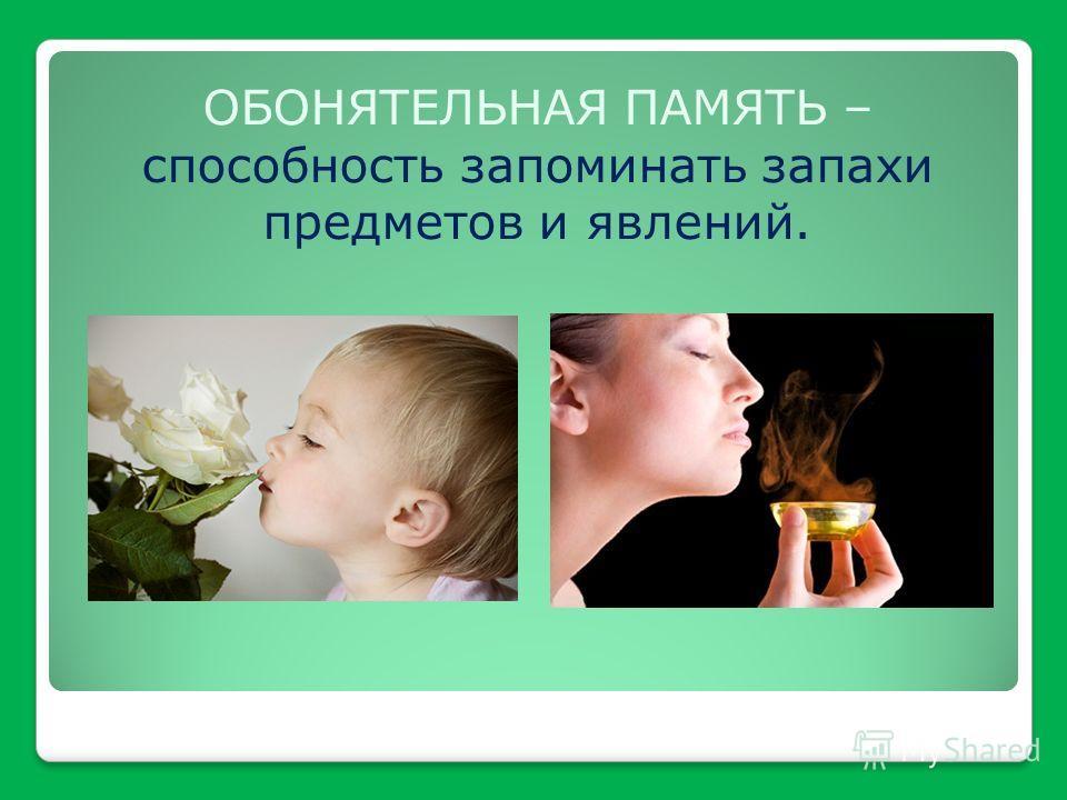 ОБОНЯТЕЛЬНАЯ ПАМЯТЬ – способность запоминать запахи предметов и явлений.