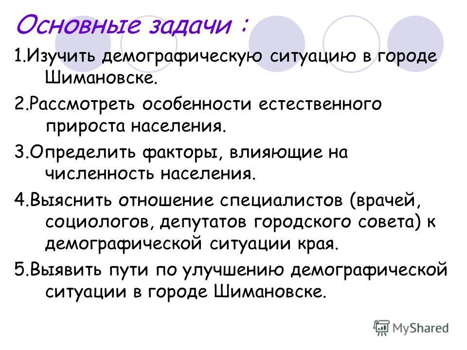 Основные задачи : 1. Изучить демографическую ситуацию в городе Шимановске. 2. Рассмотреть особенности естественного прироста населения. 3. Определить факторы, влияющие на численность населения. 4. Выяснить отношение специалистов (врачей, социологов,