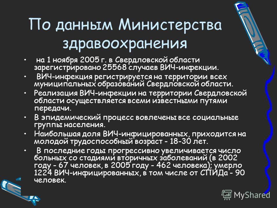 По данным Министерства здравоохранения на 1 ноября 2005 г. в Свердловской области зарегистрировано 25568 случаев ВИЧ-инфекции. ВИЧ-инфекция регистрируется на территории всех муниципальных образований Свердловской области. Реализация ВИЧ-инфекции на т