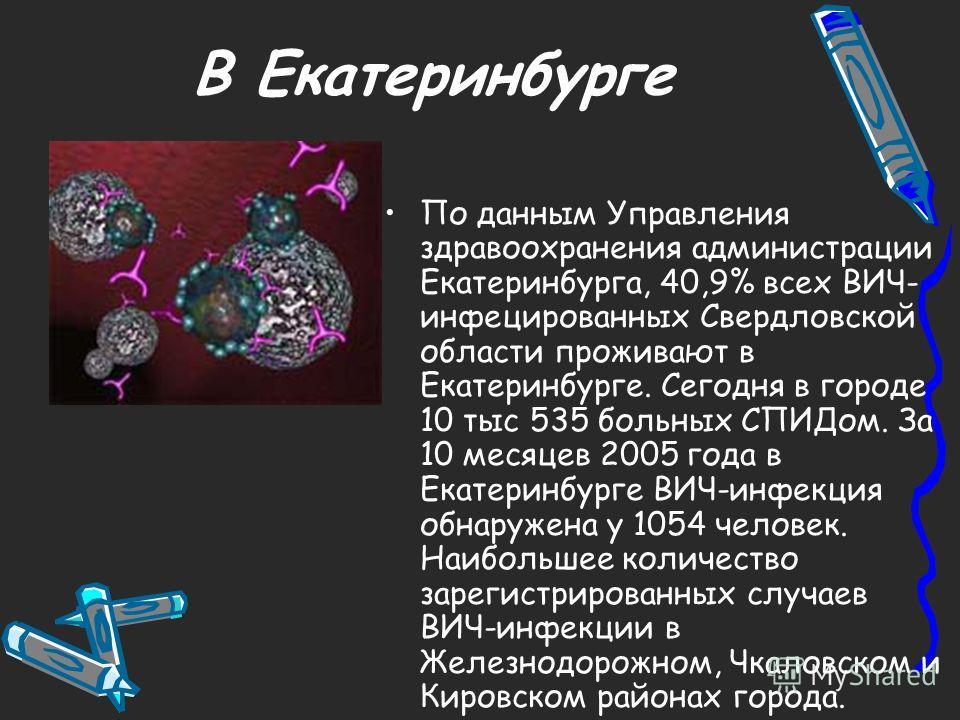 В Екатеринбурге По данным Управления здравоохранения администрации Екатеринбурга, 40,9% всех ВИЧ- инфицированных Свердловской области проживают в Екатеринбурге. Сегодня в городе 10 тыс 535 больных СПИДом. За 10 месяцев 2005 года в Екатеринбурге ВИЧ-и