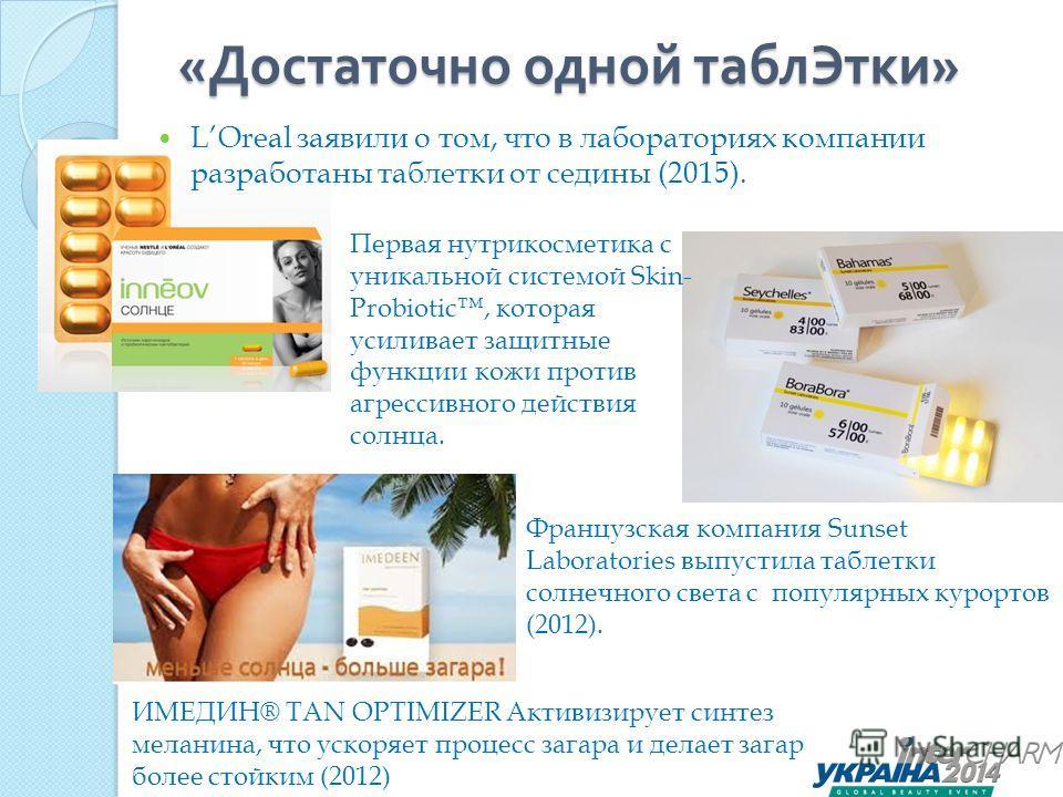 « Достаточно одной таблетки » Французская компания Sunset Laboratories выпустила таблетки солнечного света с популярных курортов (2012). Первая нутрикосметика с уникальной системой Skin- Probiotic, которая усиливает защитные функции кожи против агрес