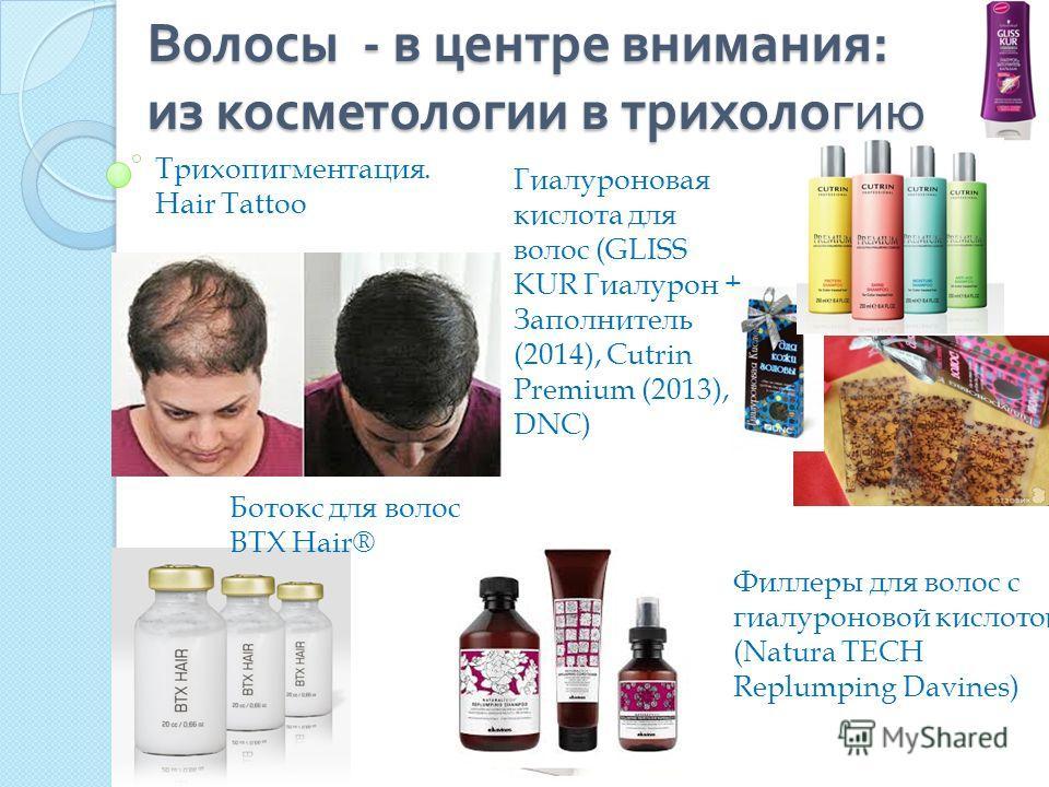 Волосы - в центре внимания : из косметологии в трихологию Гиалуроновая кислота для волос (GLISS KUR Гиалурон + Заполнитель (2014), Cutrin Premium (2013), DNC) Ботокс для волос BTX Hair® Филлеры для волос с гиалуроновой кислотой (Natura TECH Replumpin