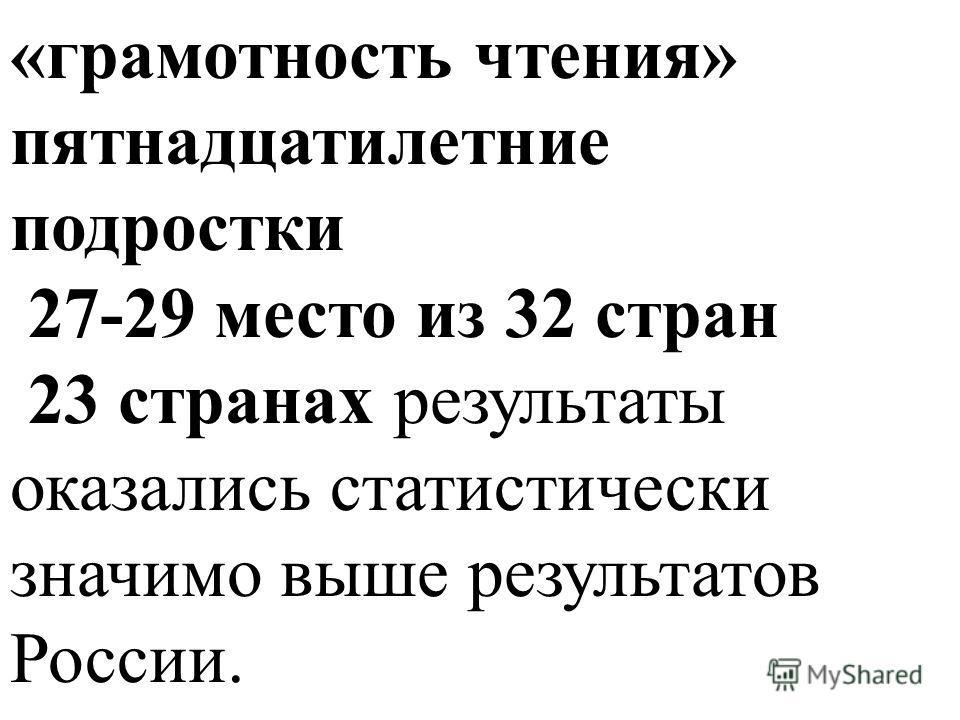«грамотность чтения» пятнадцатилетние подростки 27-29 место из 32 стран 23 странах результаты оказались статистически значимо выше результатов России.