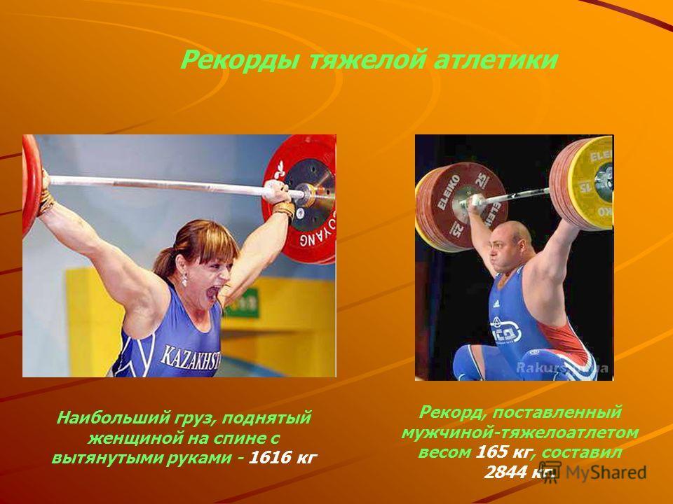 Рекорды тяжелой атлетики Наибольший груз, поднятый женщиной на спине с вытянутыми руками - 1616 кг Рекорд, поставленный мужчиной-тяжелоатлетом весом 165 кг, составил 2844 кг.