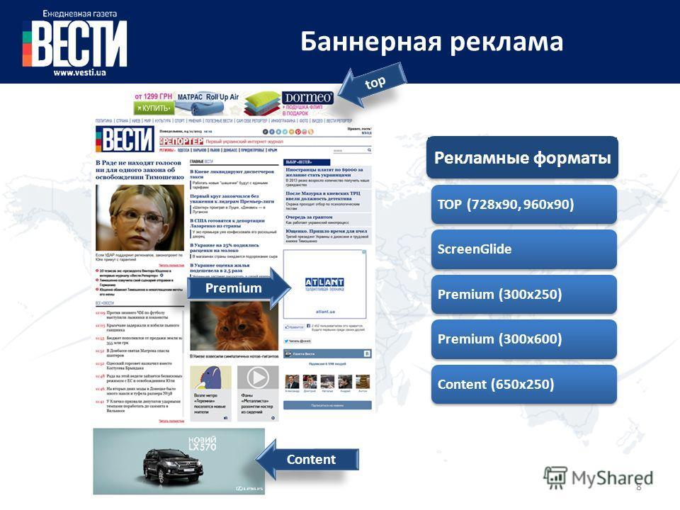 8 Баннерная реклама TOP (728x90, 960 х 90)ScreenGlidePremium (300x250)Premium (300x600)Content (650x250) top Content Premium Рекламные форматы