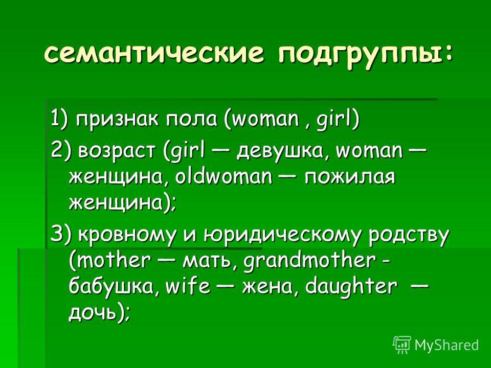 семантические подгруппы: 1) признак пола (woman, girl) 2) возраст (girl девушка, woman женщина, oldwoman пожилая женщина); З) кровному и юридическому родству (mother мать, grandmother - бабушка, wife жена, daughter дочь);