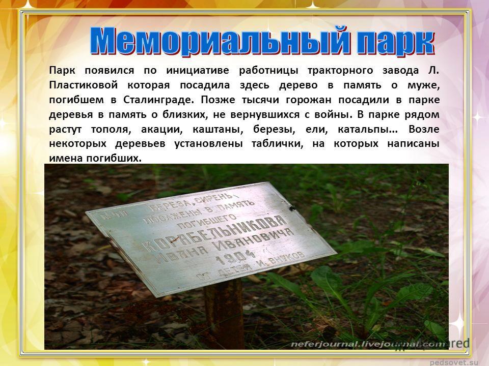 Парк появился по инициативе работницы тракторного завода Л. Пластиковой которая посадила здесь дерево в память о муже, погибшем в Сталинграде. Позже тысячи горожан посадили в парке деревья в память о близких, не вернувшихся с войны. В парке рядом рас