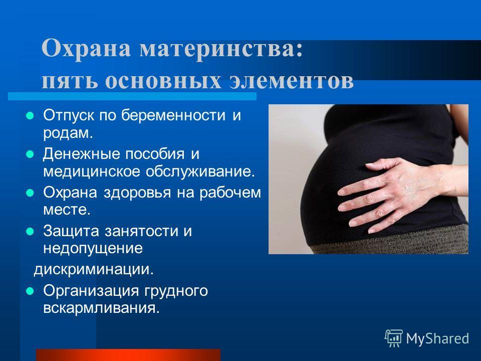 Охрана материнства: пять основных элементов Отпуск по беременности и родам. Денежные пособия и медицинское обслуживание. Охрана здоровья на рабочем месте. Защита занятости и недопущение дискриминации. Организация грудного вскармливания.