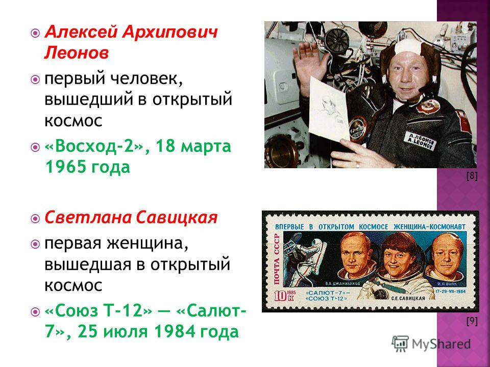 Алексей Архипович Леонов первый человек, вышедший в открытый космос «Восход-2», 18 марта 1965 года Светлана Савицкая первая женщина, вышедшая в открытый космос «Союз Т-12» «Салют- 7», 25 июля 1984 года [8] [9]