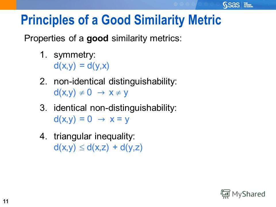 11 Principles of a Good Similarity Metric