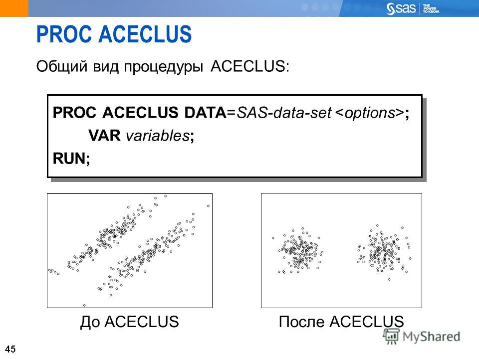 45 PROC ACECLUS Общий вид процедуры ACECLUS: 45 PROC ACECLUS DATA=SAS-data-set ; VAR variables; RUN; PROC ACECLUS DATA=SAS-data-set ; VAR variables; RUN; До ACECLUSПосле ACECLUS