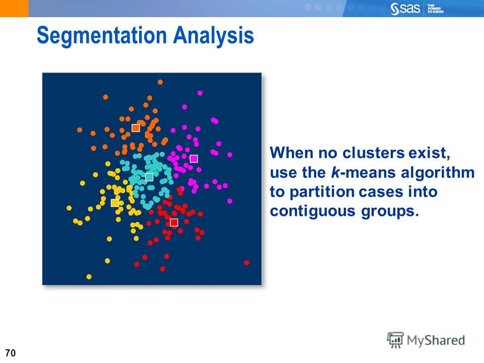 70 Segmentation Analysis When no clusters exist, use the k-means algorithm to partition cases into contiguous groups.