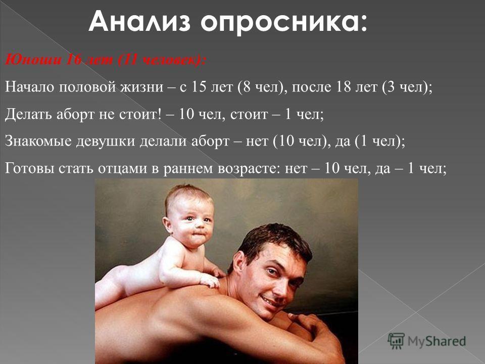 Анализ опросника: Юноши 16 лет (11 человек): Начало половой жизни – с 15 лет (8 чел), после 18 лет (3 чел); Делать аборт не стоит! – 10 чел, стоит – 1 чел; Знакомые девушки делали аборт – нет (10 чел), да (1 чел); Готовы стать отцами в раннем возраст
