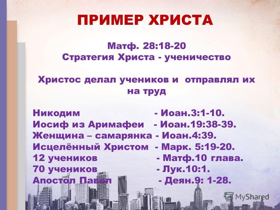 ПРИМЕР ХРИСТА Матф. 28:18-20 Стратегия Христа - ученичество Христос делал учеников и отправлял их на труд Никодим - Иоан.3:1-10. Иосиф из Аримафеи - Иоан.19:38-39. Женщина – самарянка - Иоан.4:39. Исцелённый Христом - Марк. 5:19-20. 12 учеников - Мат