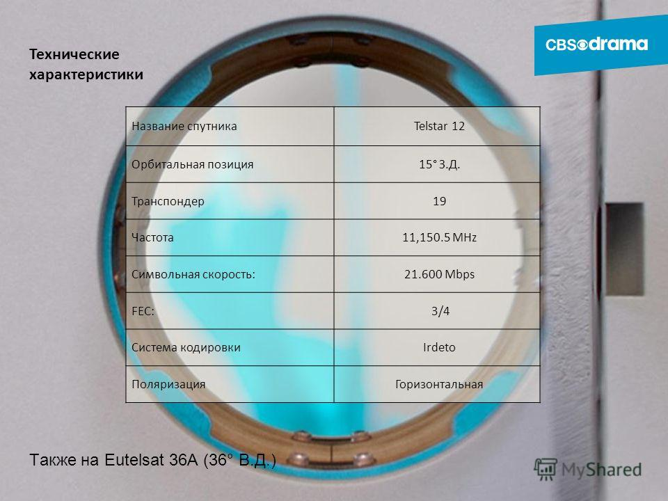Технические характеристики Название спутникаTelstar 12 Орбитальная позиция 15° З.Д. Транспондер 19 Частота 11,150.5 MHz Символьная скорость:21.600 Mbps FEC: 3/4 3/4 Система кодировкиIrdeto Поляризация Горизонтальная Также на Eutelsat 36А (36° В.Д.)