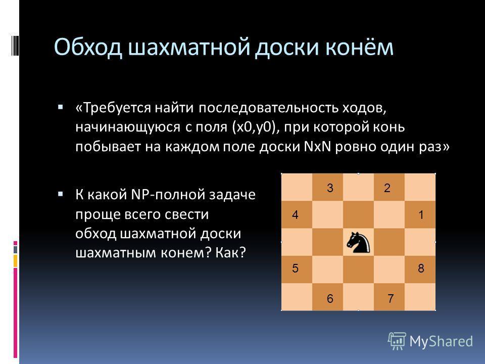 Обход шахматной доски конём «Требуется найти последовательность ходов, начинающуюся с поля (х 0,у 0), при которой конь побывает на каждом поле доски NxN ровно один раз» К какой NP-полной задаче проще всего свести обход шахматной доски шахматным конем
