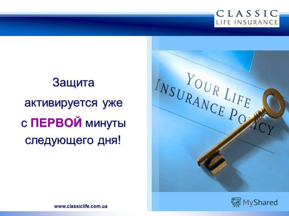 www.classiclife.com.ua Защита активируется уже с ПЕРВОЙ минуты следующего дня!