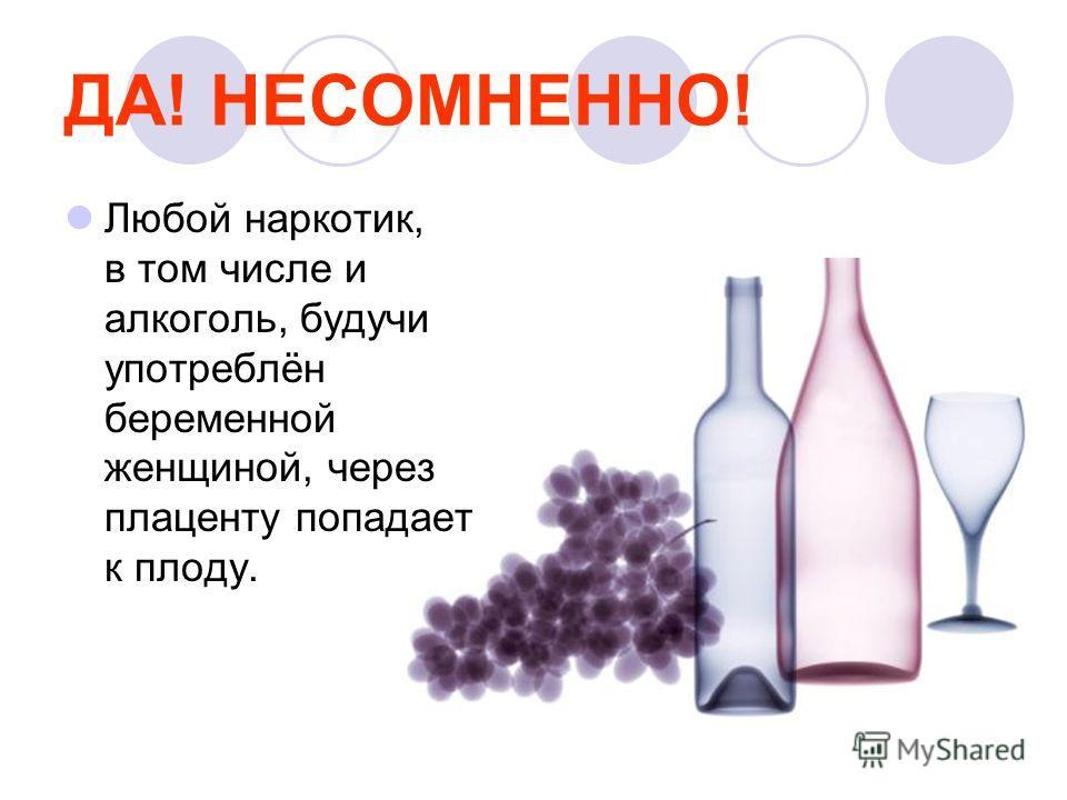 ДА! НЕСОМНЕННО! Любой наркотик, в том числе и алкоголь, будучи употреблён беременной женщиной, через плаценту попадает к плоду.