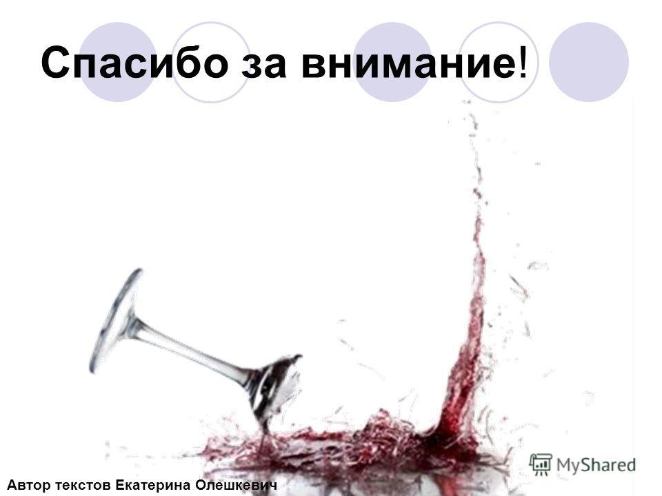 Спасибо за внимание! Автор текстов Екатерина Олешкевич